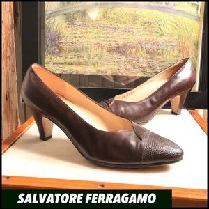 "SZ 7-FERRAGAMO DARK BROWN ITALIAN LEATHER 3"" PUMPS"